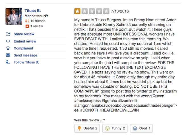 Tituss Burgess, Emmy-genomineerde acteur voor <i>Unbreakable</i> <i>Kimmy Schmidt</i> , is niet blij met Franks Express
