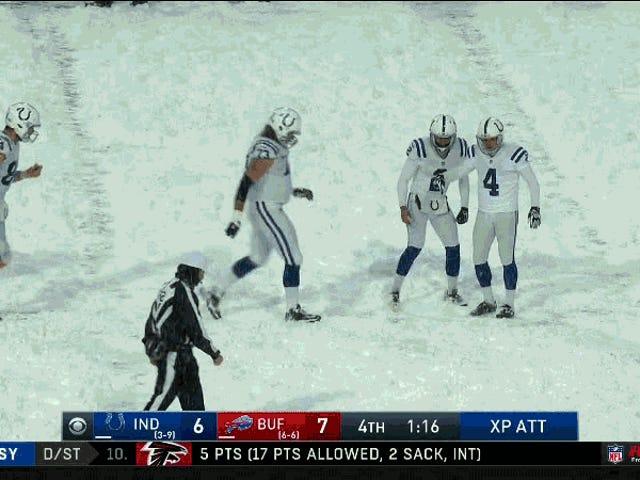 Trabajo en equipo, Wind Sends Colts-Bills To Snowvertime