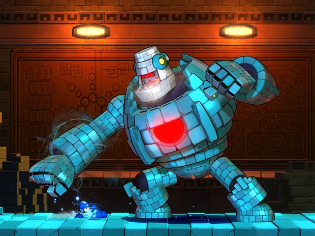 Mega Man 11'in ikonik kahramanı hızlı hareket ediyor, sert vuruyor ve tamamen çarpışıyor
