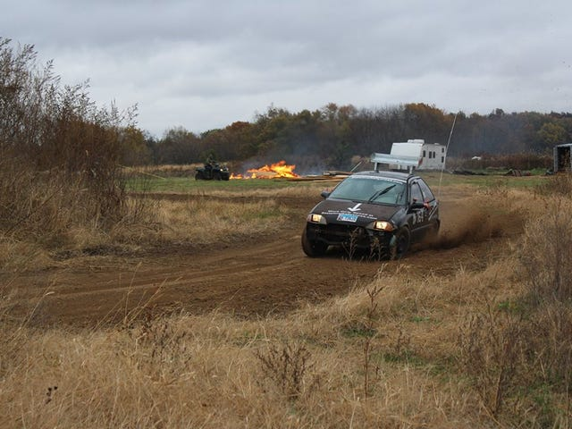 Where can a 58hp clown car, a rally prepped Evo, a crash damaged Explorer, and a bone stock Volt all race together?
