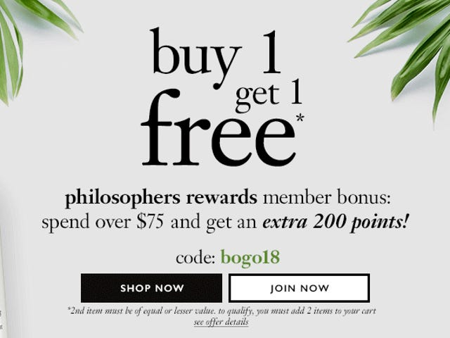 """<a href=""""https://kinjadeals.theinventory.com/philosophys-entire-website-is-buy-one-get-one-free-1828154897"""" data-id="""""""" onClick=""""window.ga('send', 'event', 'Permalink page click', 'Permalink page click - post header', 'standard');"""">philosophy's Entire Website Is Buy One, Get One Free</a>"""