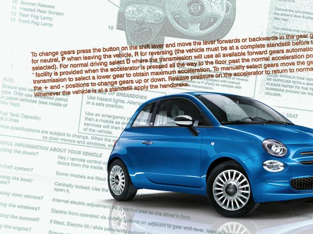 英国のレンタカーは、自動運転方法についての説明書が付属しています