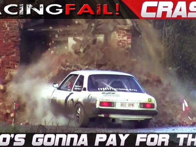 Vi siete mai chiesti cosa succede dopo che un'auto da rally danneggia la proprietà di qualcuno?