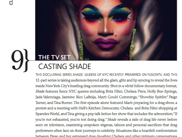 'Shade reveals a side of drag life never before seen on television' - Metrosource