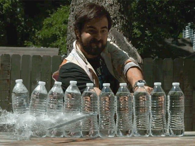 Super Slo-Mo Footage of Swords Slicing Water Bottles Will Satisfy Your Ninja Fantasies