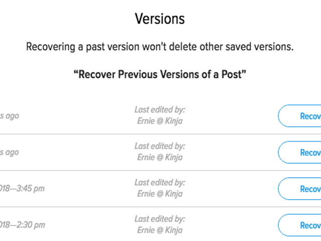 New Save Options & Recover Previous Versions of a Post