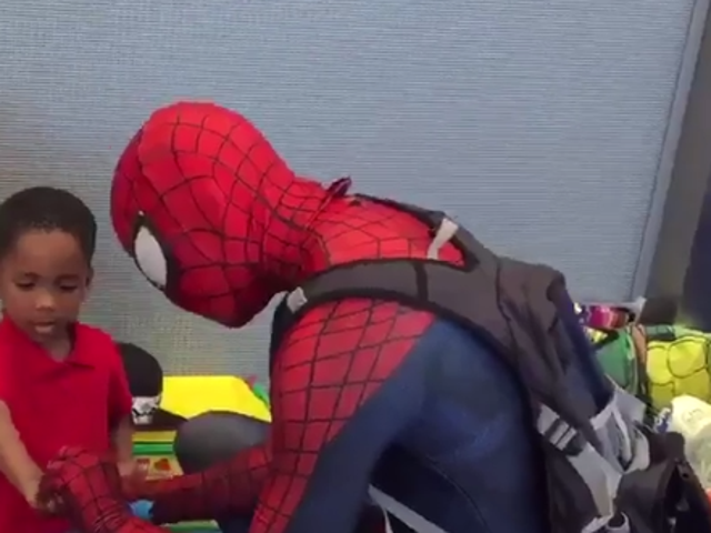 Spider-Man Helps Bring Smiles to Displaced Kids at Houston Hurricane Shelter
