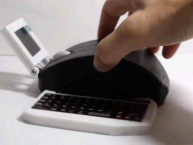Es gibt einen voll funktionsfähigen Computer, einschließlich einer einziehbaren Tastatur, die in dieser Maus versteckt ist