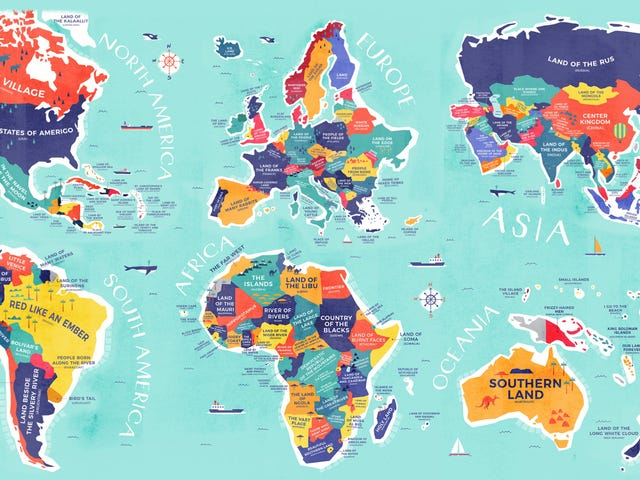 El mapa que, en lugar de nombrar cada país, te dice lo que significan sus nombres