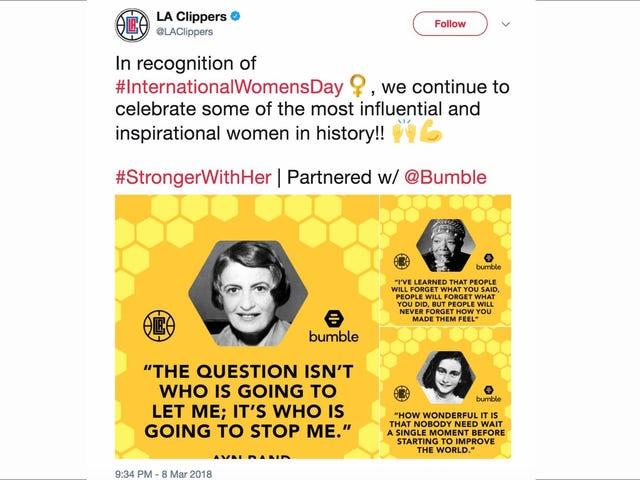 クリッパーズはすぐにそれを実現するでしょう。Ayn Randは、彼らの出会い系パートナーシップで使う最良の例ではありません。