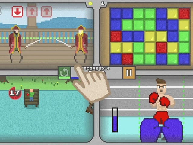 IOS-peli, jossa pelaat neljää retro-peliä samanaikaisesti, mikä voi rikkoa aivosi
