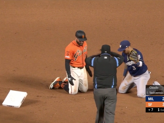 Giants' Kevin Pillar Successfully Steals Second With The World's Most Powerful Slide