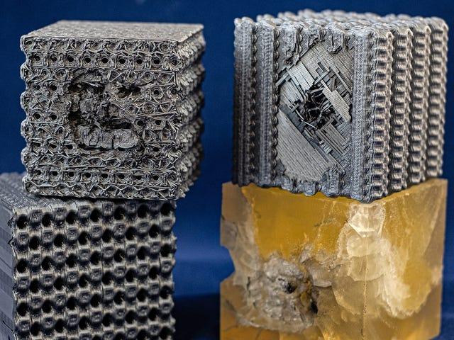 Chercheurs Cubes en plastique imprimés en 3D avec des motifs complexes qui les rendent pare-balles