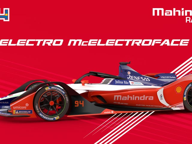"""Η ομάδα Mahindra Racing της Formula E στην πραγματικότητα ονομάζει ένα από τα αυτοκίνητά τους """"Electro McElectroface"""""""