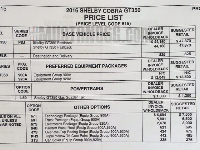 Mustang GT350 Pricing Leaked (Unconfirmed)