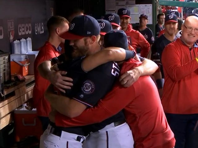 Stephen Strasburg's Teammates Must Keep Hugging Him Until His Icy Heart Melts