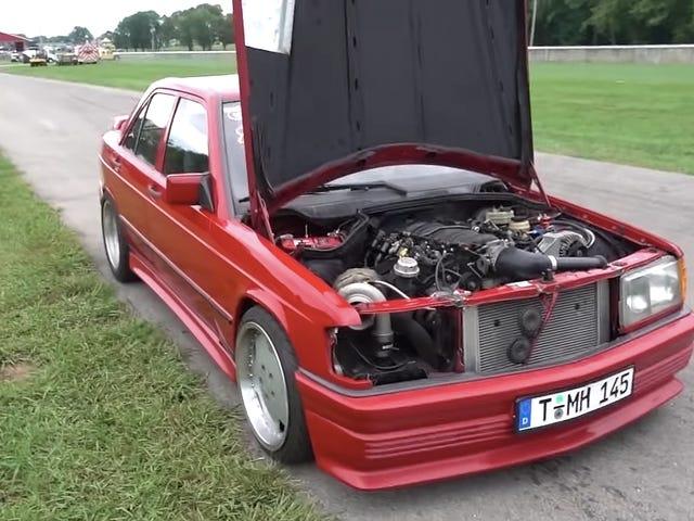 Here's a Good Idea: Swap a 500 Horsepower Turbo V8 Into a Mercedes 190E