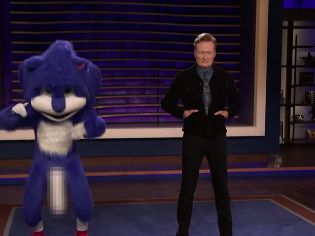 Conan slaps overly concerned Sonic fans with aggressively bouncing hedgehog wang