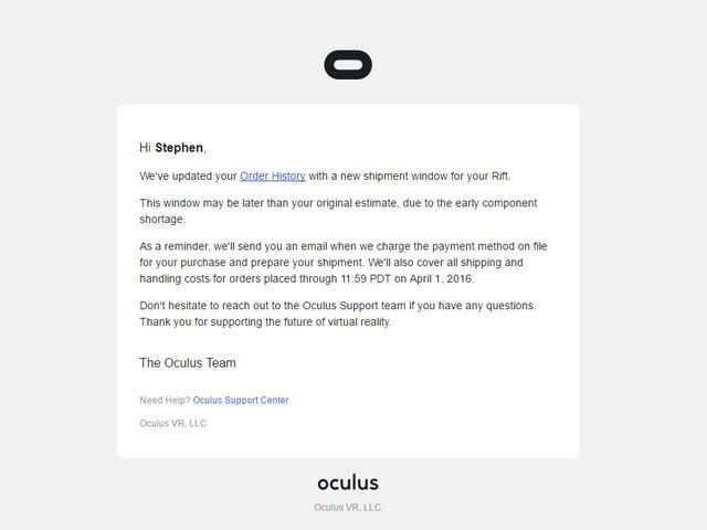 """Мой Oculus Rift """"может быть позже моей первоначальной оценки"""""""