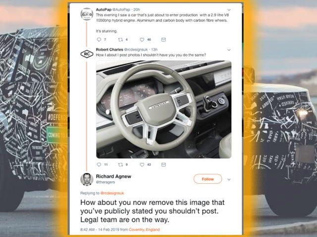 2020 High-Tech Dash van Land Rover Defender onthuld in hilarische Twitter-strijd (bijgewerkt)