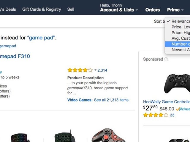 "Amazon Sort for Chrome Adds a ""Number of Reviews"" Sorting Method to Amazon Results"