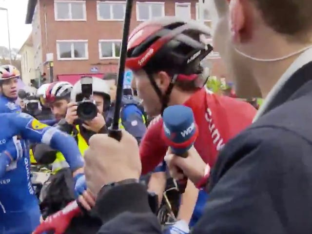 Cyclist Punches Competitor In Head During Live TV Interview