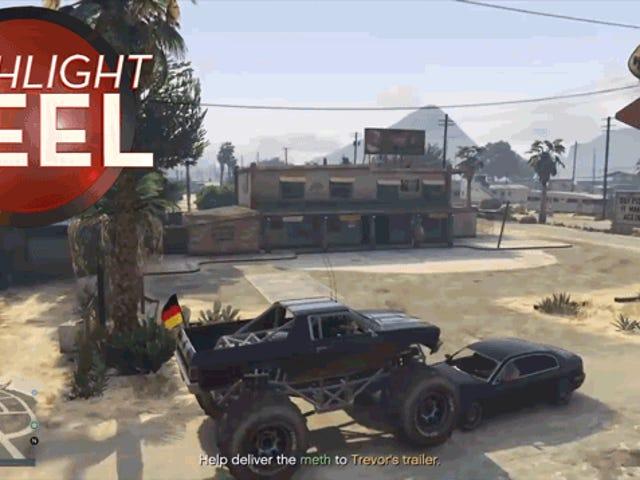 <i>GTA</i> मॉन्स्टर ट्रक एक पिम्पल की तरह कार को टक्कर देता है