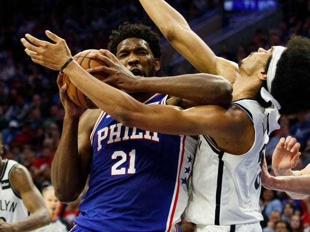 Joel Embiid Couldn't Keep A Straight Face While Apologizing For His Elbow On Jarrett Allen
