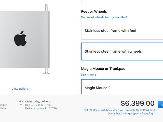 At tilføje hjul til Apples nye Mac Pro koster 400 forbandede dollars