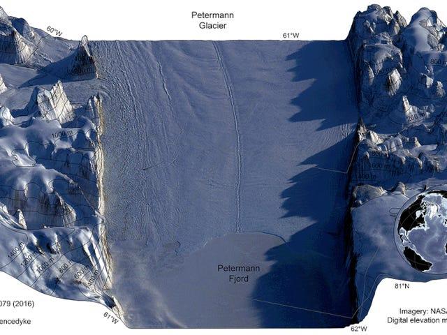 Det här är ett halvt år för en av Grönlands mest imperilerade glaciärer ser ut