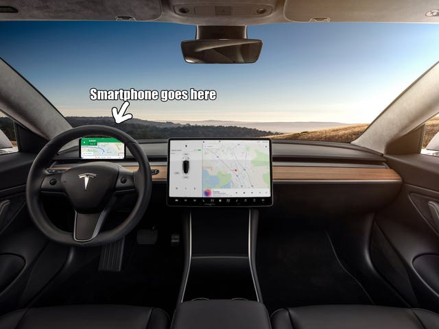 A solution to the Model 3's lack of an instrument cluster.
