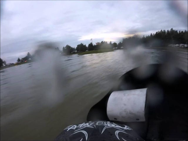 One Of My Cousin's Snowmobile Watercross Races - First Person View