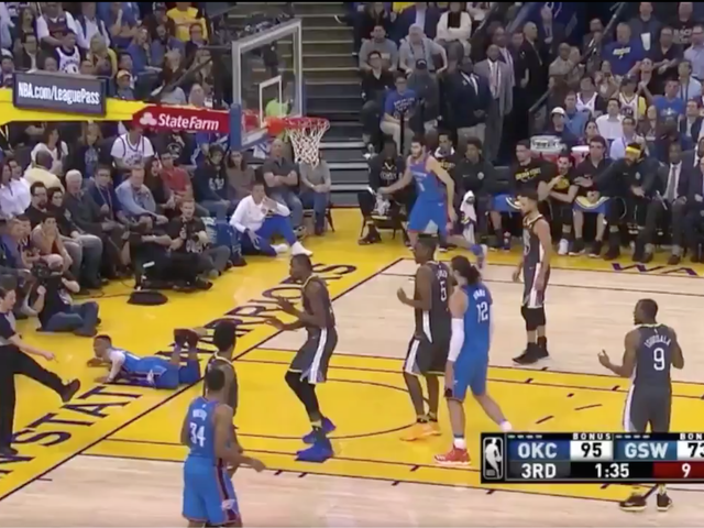 Russell Westbrook Magically Fouled By Floor, Own Feet