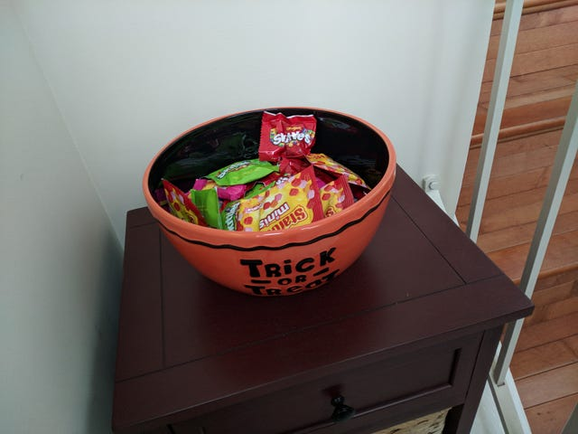 We have way too much leftover candy and it's all my wife's fault