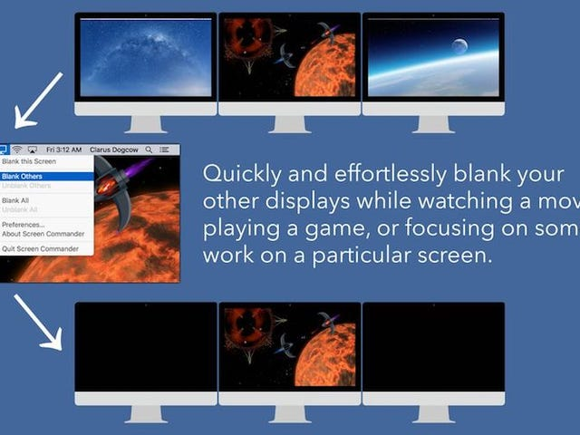 Screen Commander for Mac Blanks Out Second Monitors With a Click