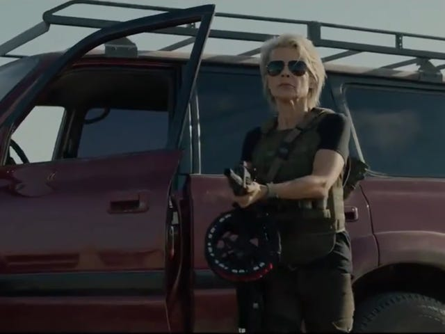 Sarah Connor's back in the first trailer for Terminator: Dark Fate