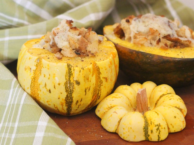 Amaze Your Thanksgiving Guests With Personal Stuffing-Stuffed Squash