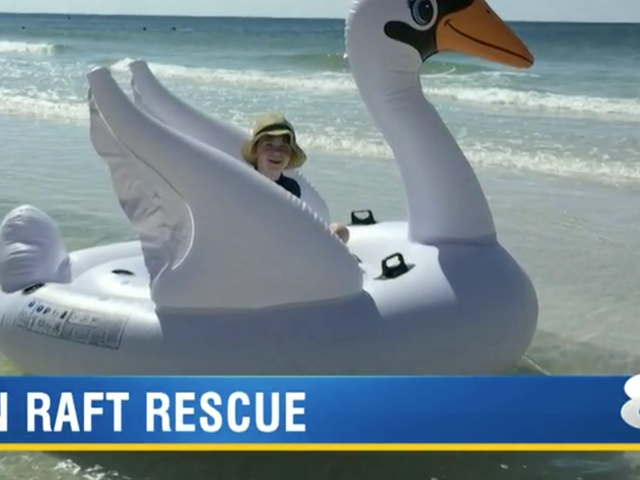 Mother and Son Rescued After Floating Miles From Shore on Inflatable Swan