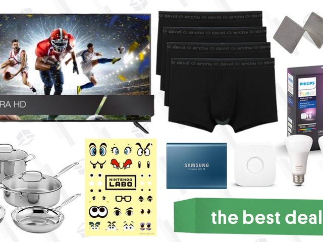 Beste deals van dinsdag: 65-inch 4K-tv, Philips Hue-accessoires, David Archy Underwear en meer