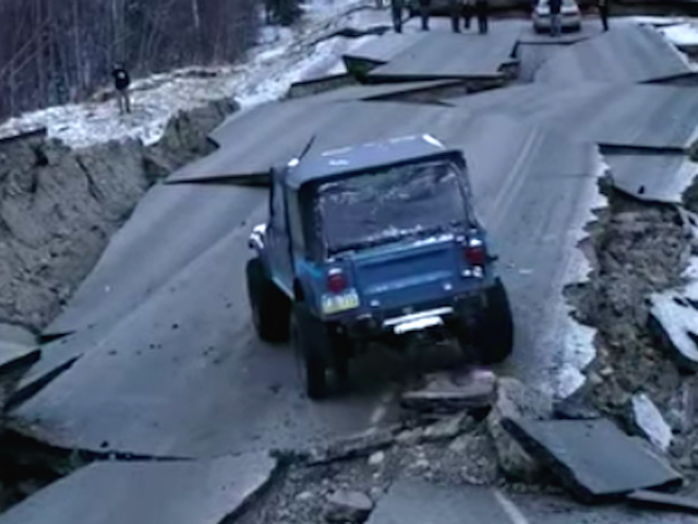 Watch a Jeep CJ-7 Beast-Mode This Alaska Road Destroyed By an Earthquake