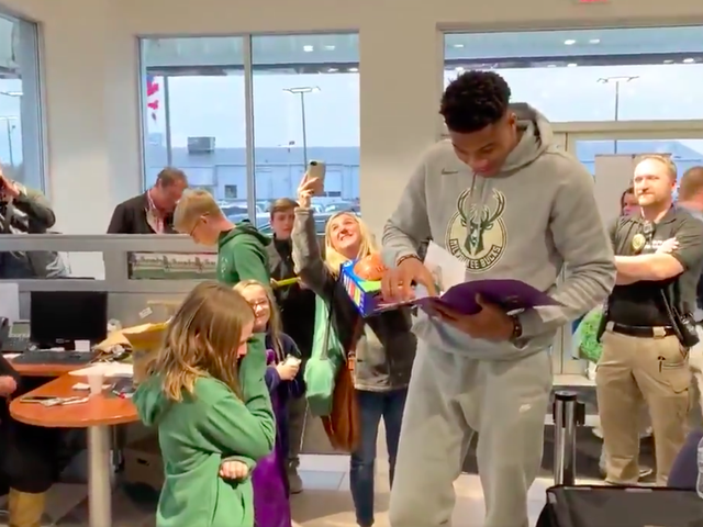 Giannis Antetokounmpo Made A Little Girl Cry Because He Loved Her Artwork So Much