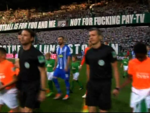 """German Fans Protest Corporate Greed In Soccer With A Big """"Fucking"""" Banner"""