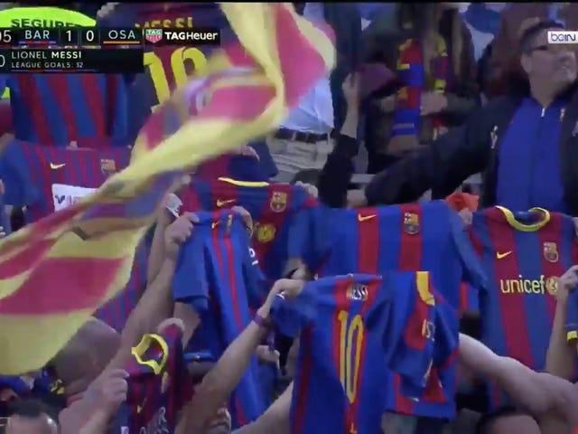 Barcelona Fans Celebrate Messi Goal With Homage To HisClásico Celebration