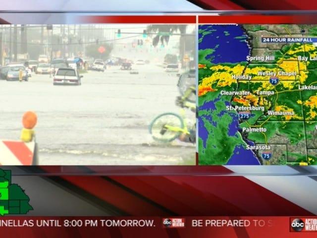 洪水で自転車に乗り込み、ライブテレビでヘッダーを取った結果
