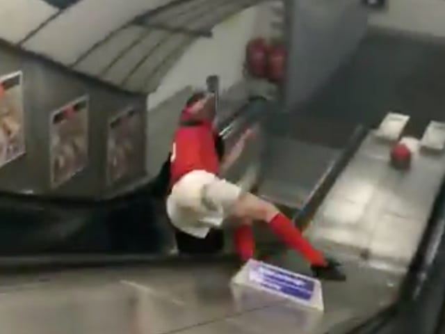 The Sports Highlight Of The Day Is This Poor Bloke's Escalator Odyssey From Hell