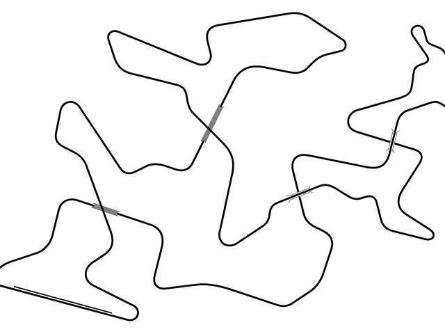 I have succeeded in creating a race track with four crossing points