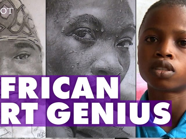 11-Year-Old Nigerian Artist Creates Stunning Portraits of Figures in His Community
