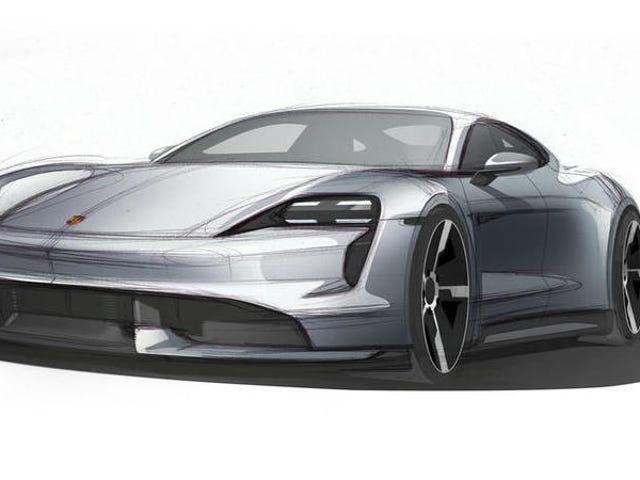 Om Porsche Taycan ser ut som den här skissen blir det bra nyheter för dina ögon