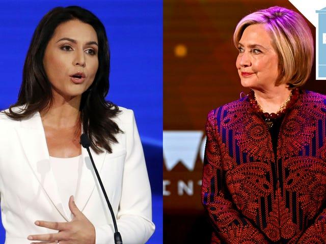 Lad os rejse ind i et virkelig vildt og eskalerende oksekød mellem Tulsi Gabbard og Hillary Clinton