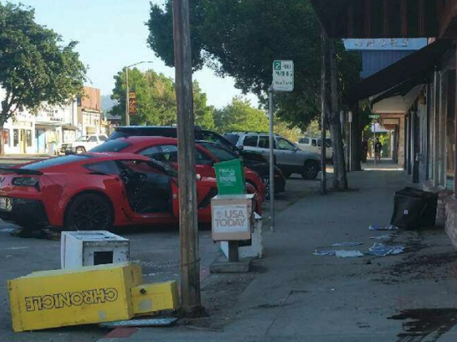 """Article:"""" Corvette crashes into a local business"""", But the real star of the show is the comments section."""